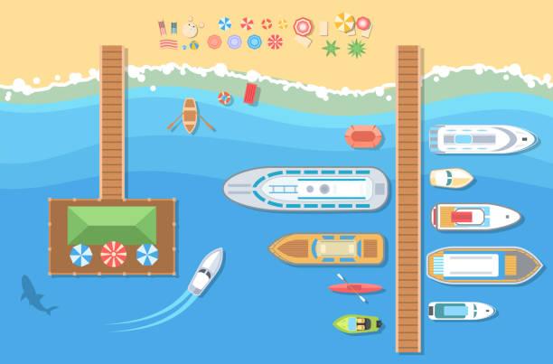 ビーチ トップ ビュー - 現代ベクトル カラフルなイラスト - 桟橋点のイラスト素材/クリップアート素材/マンガ素材/アイコン素材