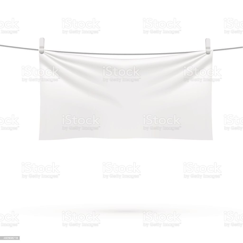 beach towel hanging on a rope vector art illustration