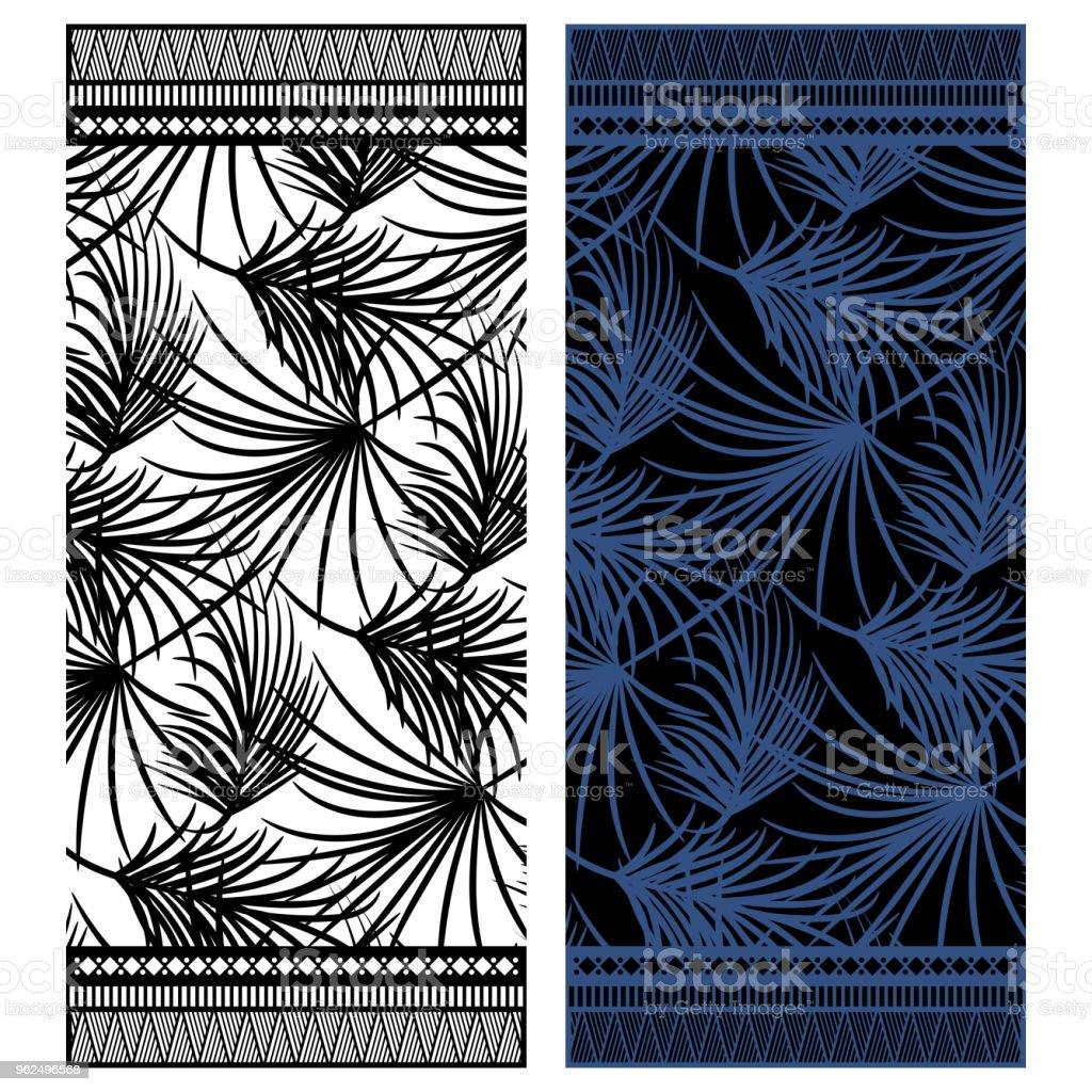 Projeto de vetor de toalha de praia com folhas de palmeira e fronteiras - Vetor de Abstrato royalty-free
