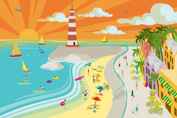 Beach Town Illustration vector art illustration