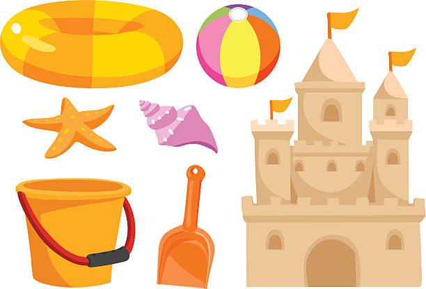 illustrations, cliparts, dessins animés et icônes de vecteurs de jouets de plage - chateau de sable