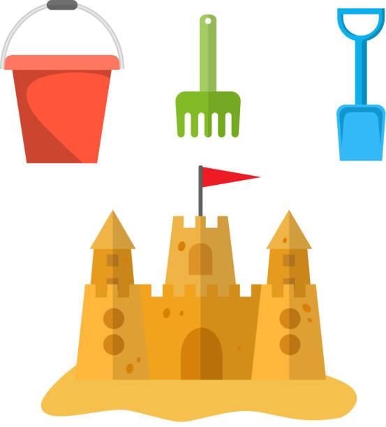 illustrations, cliparts, dessins animés et icônes de jouets de plage et château de sable - chateau de sable