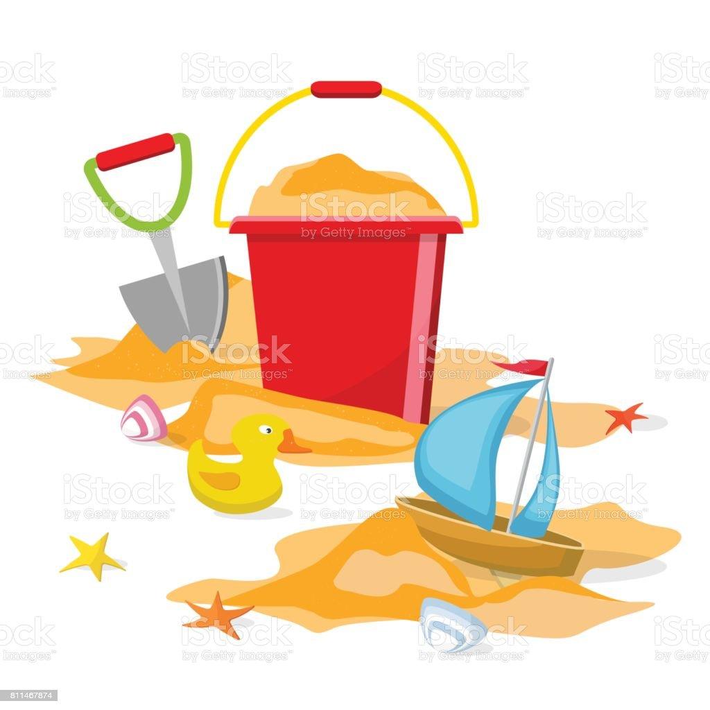 Spielzeug für den strand isoliert eimer schaufel seestern