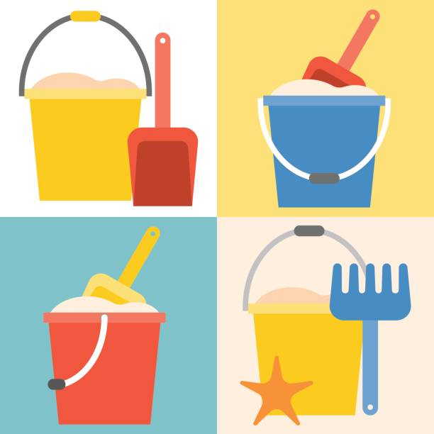 beach toys pail and shovel vector art illustration