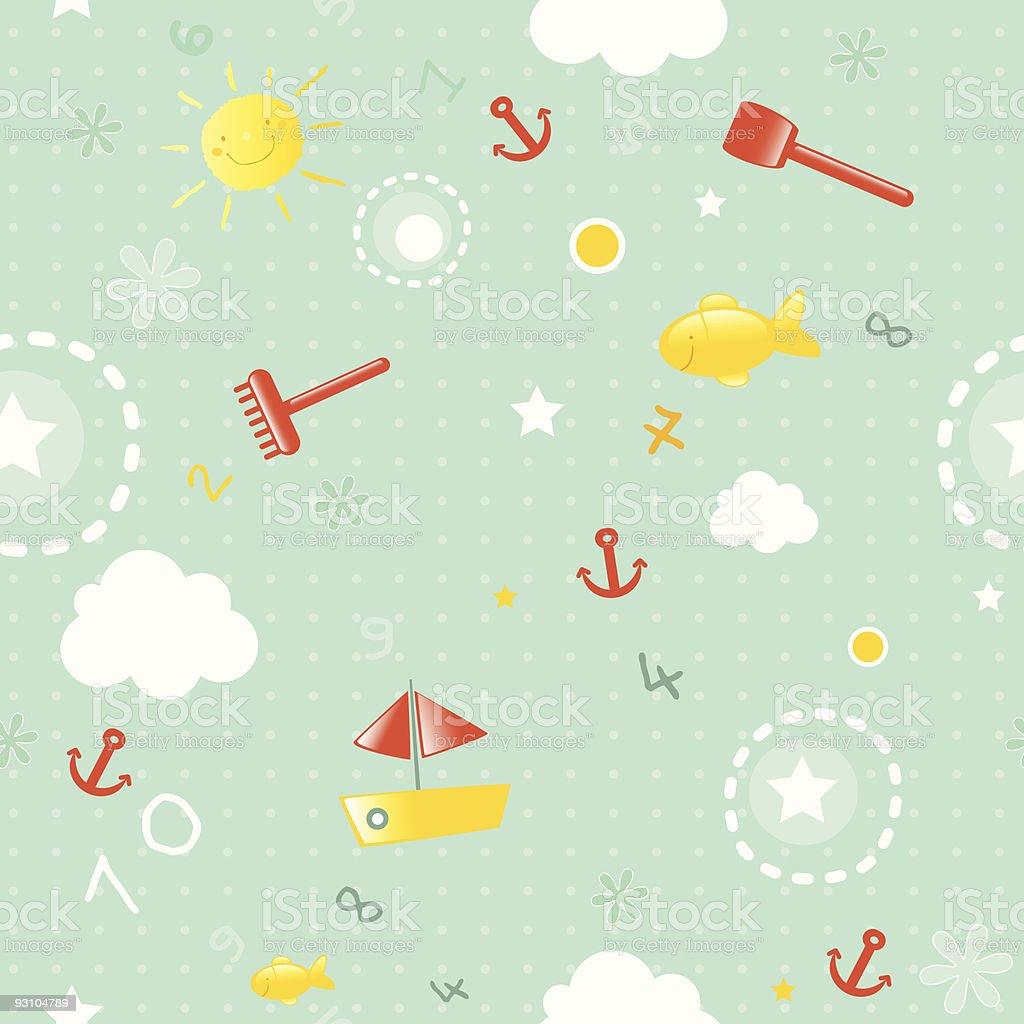 beach toys seamless pattern royalty-free stock vector art