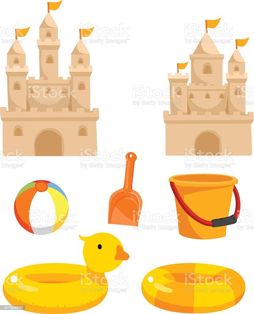 beach toys vector cartoon vector art illustration
