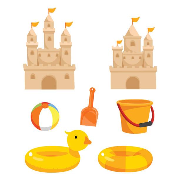 illustrations, cliparts, dessins animés et icônes de jouets de plage vector collection design - chateau de sable