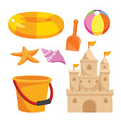 beach toys vector design