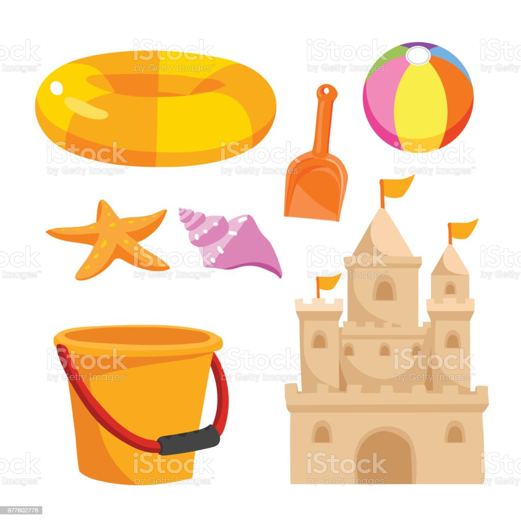 beach toys vector design vector art illustration
