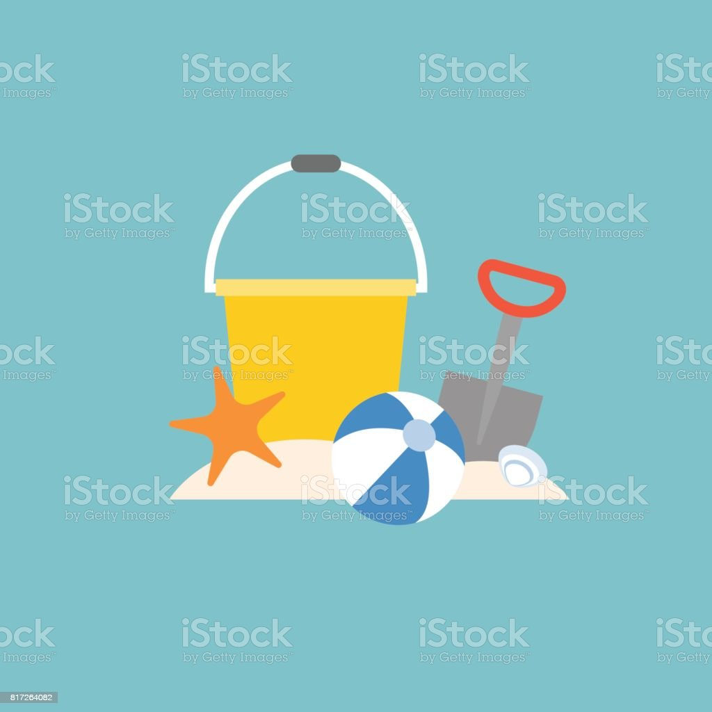 beach toys vector art illustration