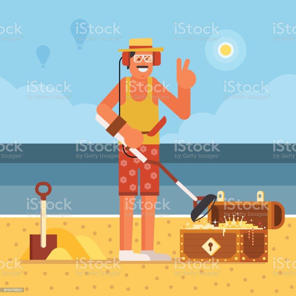 Beach Treasure Hunter with Metal Detector vector art illustration