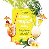 Beach tropical cocktails bahama mama and pina colada with garnis