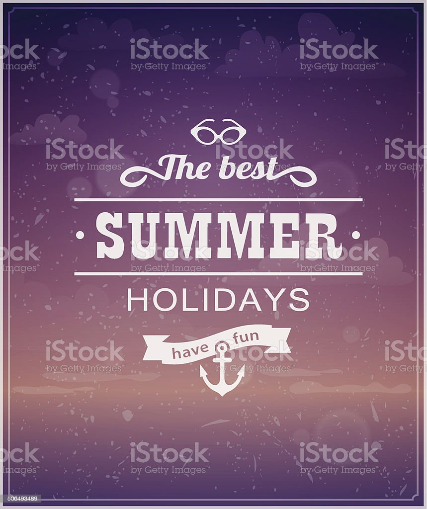 Beach typographic background royalty-free stock vector art
