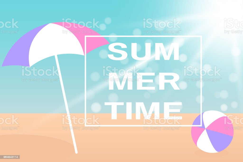 Beach Umbrella and Bright ball on the seacoast. Vector illustration EPS10 royalty-free beach umbrella and bright ball on the seacoast vector illustration eps10 stock vector art & more images of ball