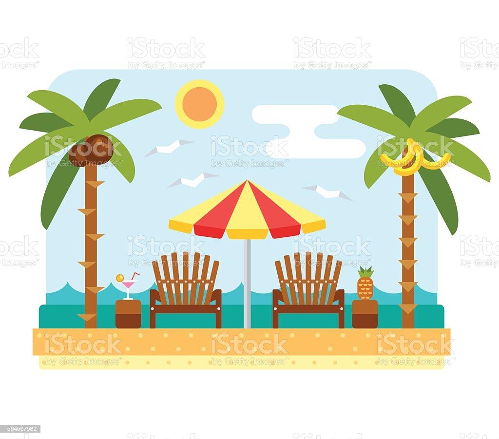 Beach umbrella and chair vector art illustration