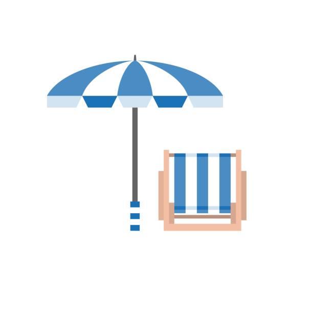 illustrations, cliparts, dessins animés et icônes de parasol et chaise longue - transat