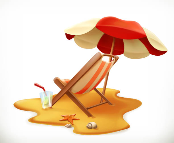 Beach umbrella and lounge chair, 3d vector icon Beach umbrella and lounge chair, 3d vector icon outdoor chair stock illustrations