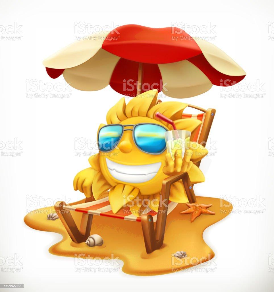 Sonnenschirm strand clipart  Sonnenschirm Am Strand Und Sonne 3d Vektor Icon Stock Vektor Art und ...