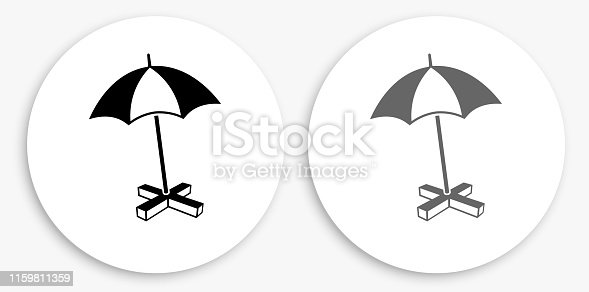 Beach Umbrella Black and White Round Icon. This 100% royalty free vector illustration is featuring a round button with a drop shadow and the main icon is depicted in black and in grey for a roll-over effect.