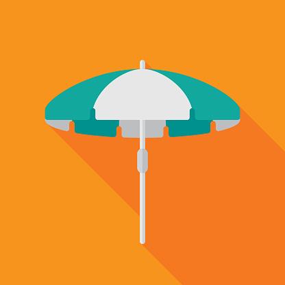 Beach Umbrella Icon Flat