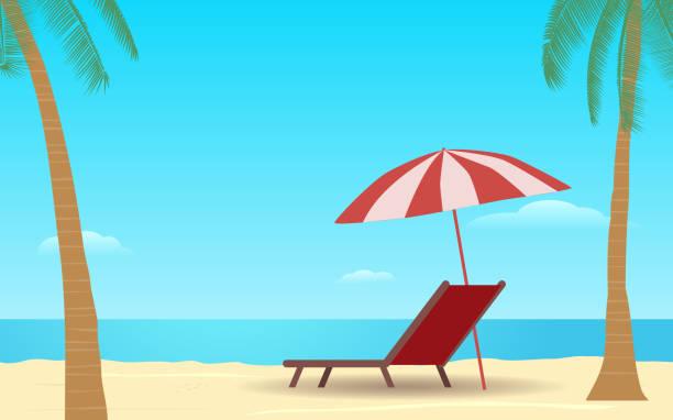 sonnenschirm in flachen icon-design auf dem meer mit blauem himmelshintergrund - pattaya stock-grafiken, -clipart, -cartoons und -symbole