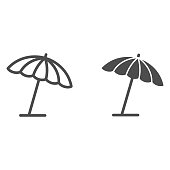 istock Beach umbrella line and solid icon, summer concept, parasol sign on white background, sun umbrella icon in outline style for mobile concept and web design. Vector graphics. 1256220351