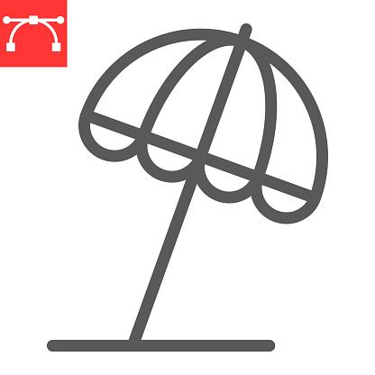 Beach umbrella line icon