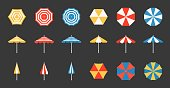 istock Beach umbrella set, side and aerial view, flat design pixel perfect icon on grid system 910988036