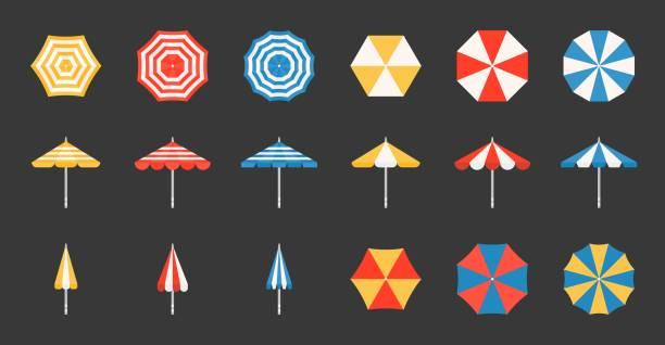 Beach umbrella set, side and aerial view, flat design pixel perfect icon on grid system – artystyczna grafika wektorowa