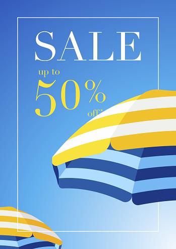 Beach Umbrella Summer Sale Background