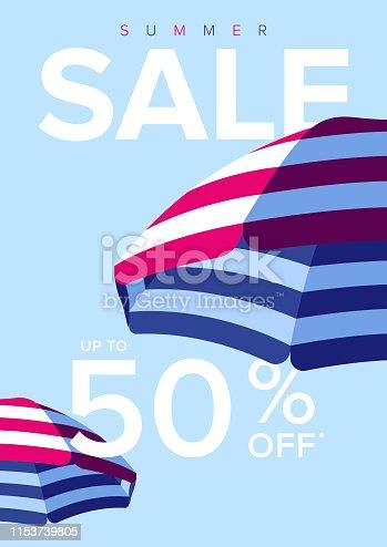 istock Beach Umbrella Summer Sale Background 1153739805