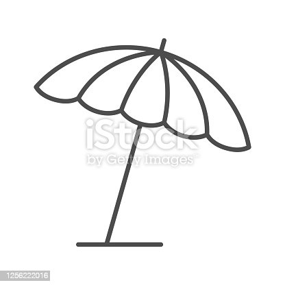 istock Beach umbrella thin line icon, summer concept, parasol sign on white background, sun umbrella icon in outline style for mobile concept and web design. Vector graphics. 1256222016