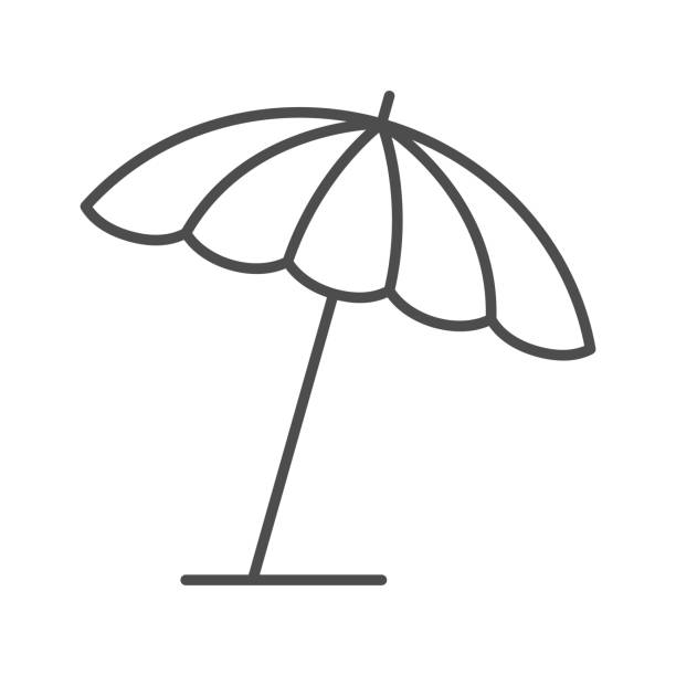 Beach umbrella thin line icon, summer concept, parasol sign on white background, sun umbrella icon in outline style for mobile concept and web design. Vector graphics. Beach umbrella thin line icon, summer concept, parasol sign on white background, sun umbrella icon in outline style for mobile concept and web design. Vector graphics holiday and seasonal icons stock illustrations