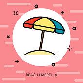 Beach Umbrella Thin Line Summer Icon