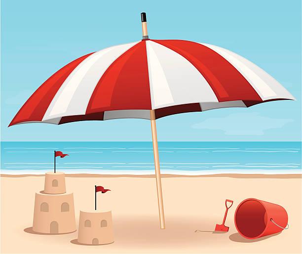 illustrations, cliparts, dessins animés et icônes de parasol de plage - chateau de sable
