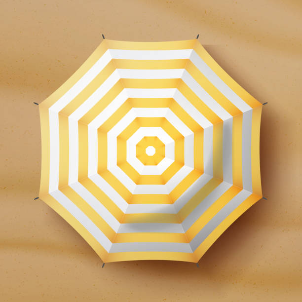 Beach Umbrella Vector. Realistic Parasol Icon. Sand Background. Relax Illustration vector art illustration