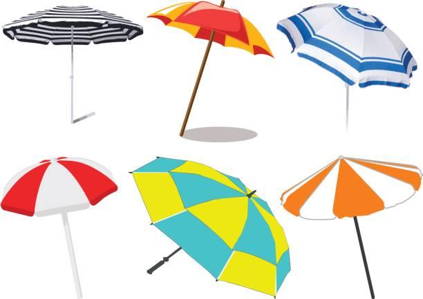 Beach umbrella - vector vector art illustration