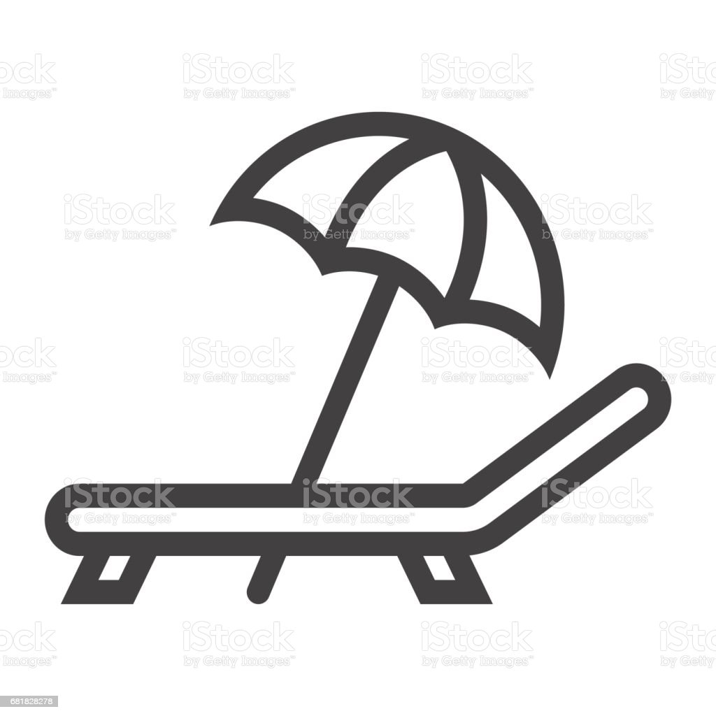 Beach umbrella with deckchair line icon, Travel and tourism, vector graphics, a linear pattern on a white background, eps 10. vector art illustration