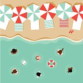 Beach umbrellas and people flat design EPS 10 vector