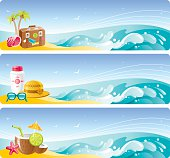Colorful beach vacation banners set with copyspace. Zip contains CDR-11, AI CS.