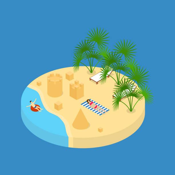 illustrations, cliparts, dessins animés et icônes de plage de vacances élément vue 3d isométrique. vector - chateau de sable