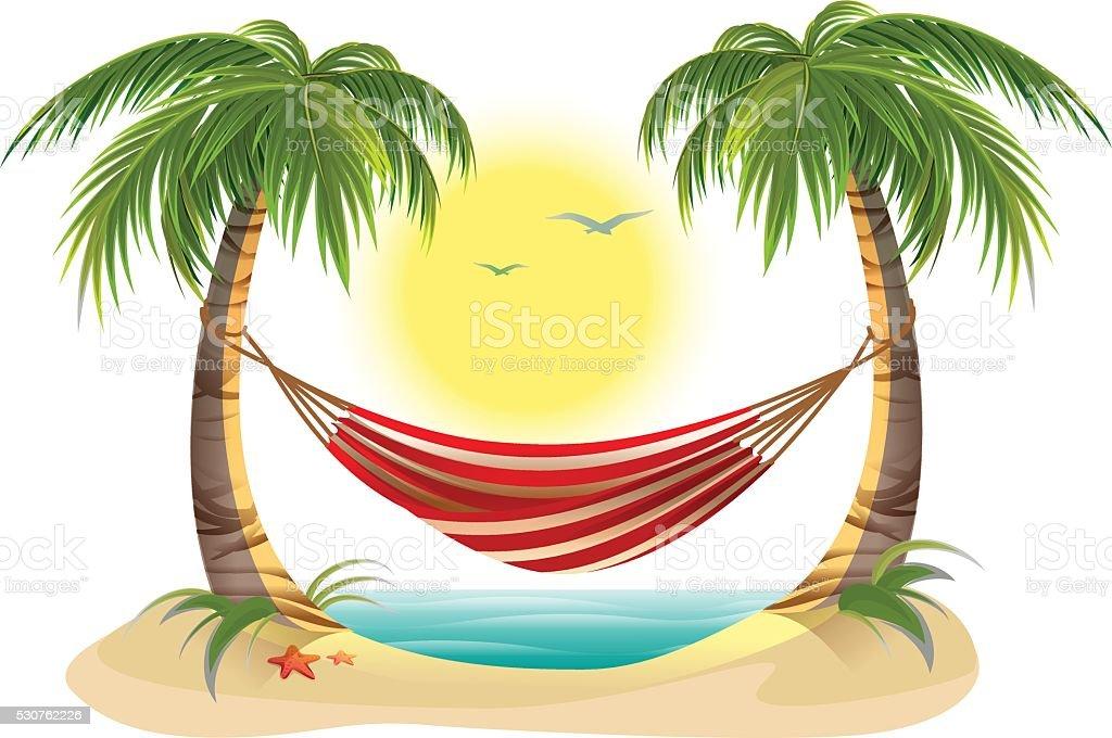 strand urlaub h ngematte zwischen palmen stock vektor art und mehr bilder von baum 530762226. Black Bedroom Furniture Sets. Home Design Ideas