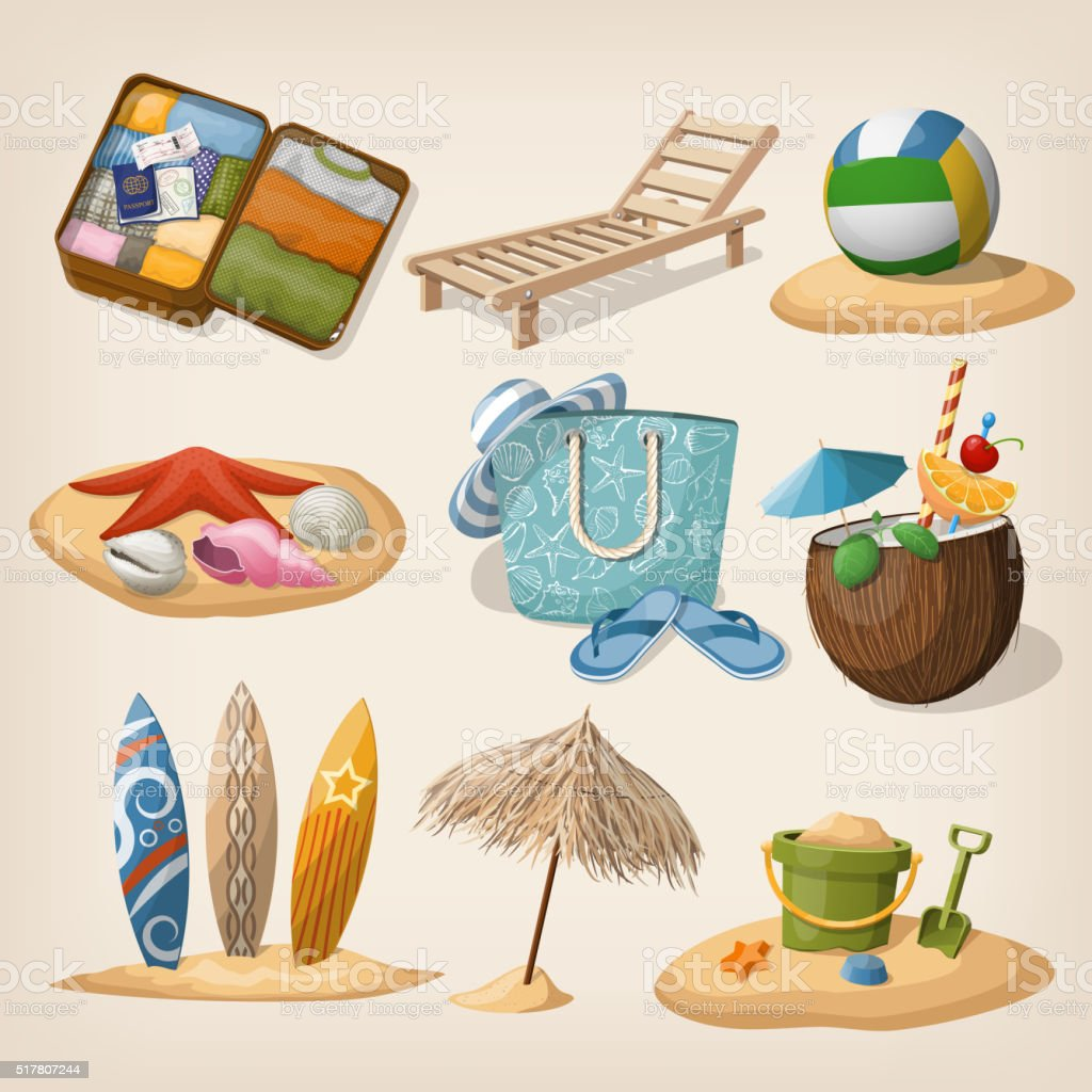 Beach vacation icon set. Vector illustration vector art illustration