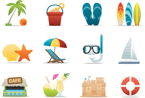 Beach Vacation icons | Premium Matte series vector art illustration