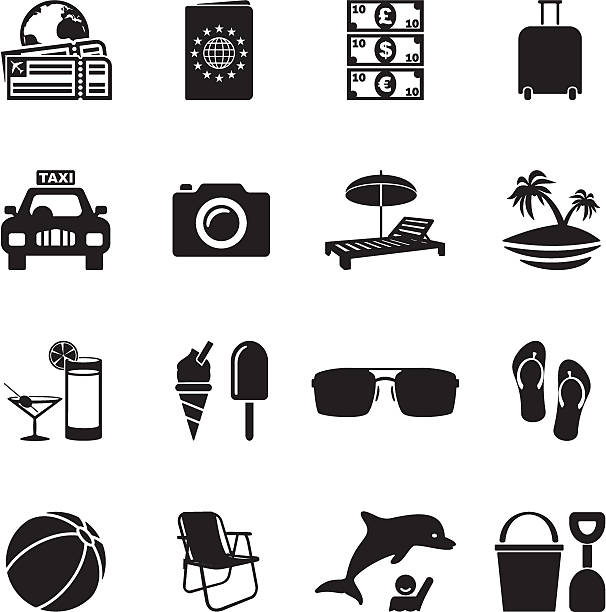 Beach Vacation Icons vector art illustration