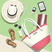 Tote bag, tech and other fashion accessories for beach vacation and travel