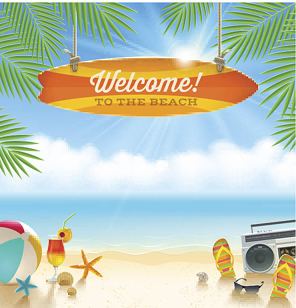 stockillustraties, clipart, cartoons en iconen met beach vacation vector illustration - strandfeest