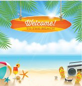 Beach vacation vector illustration