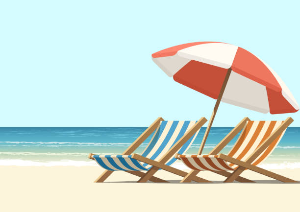 stockillustraties, clipart, cartoons en iconen met strand - zonnig
