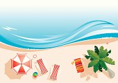 vector illustration of top view beach with palm